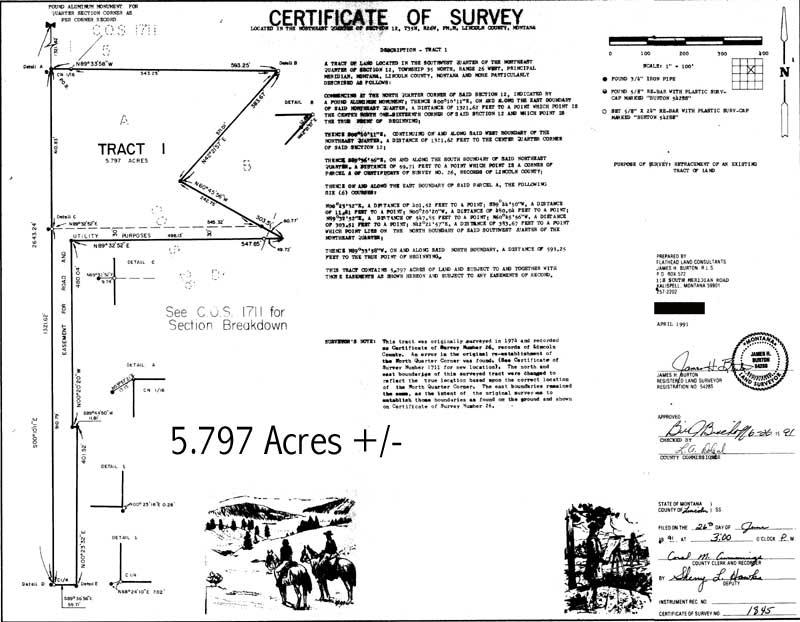property survey montana certificate meadow grave creek water